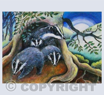 Badgers at moonrise