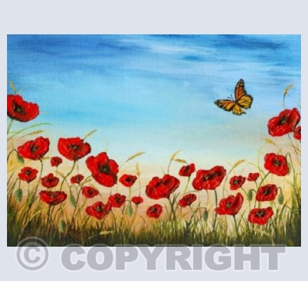 Poppies and Butterfly Card
