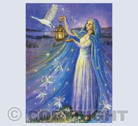 'Brigid with Snowdrop Faeries' | GRG09