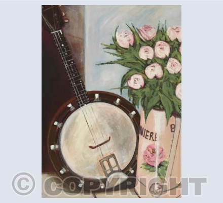 Banjo Mandolin and Pink Roses