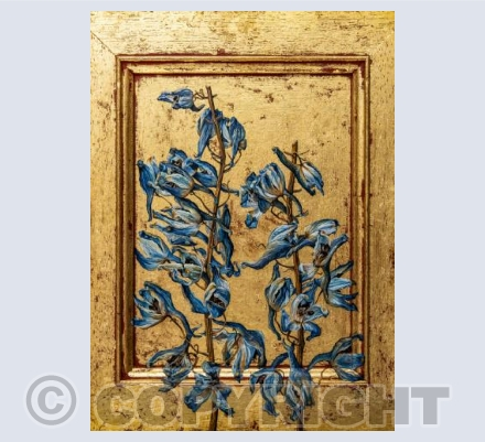 Delphiniums on Gold