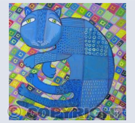 blue cat on patchwork
