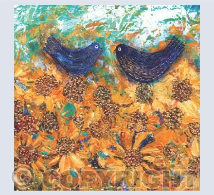 Blue Birds and Golden Sunflowers
