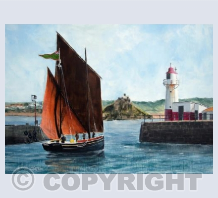 Cornish Lugger 'Happy Return' Leaving Newlyn Harbour