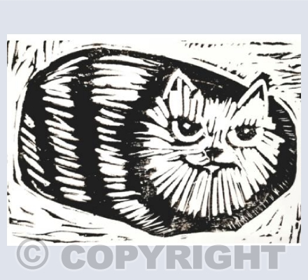 Sitting Striped Tabby Cat Linocut