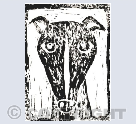 Linocut Whippet with Border