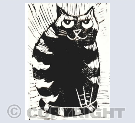 Stripey Sitting Cat Linocut