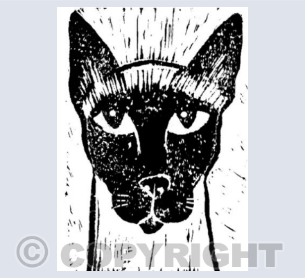 Siamese Cat Head Linocut