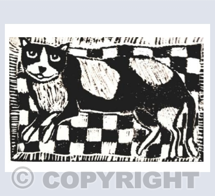 Black and White Cat on a Mat Linocut