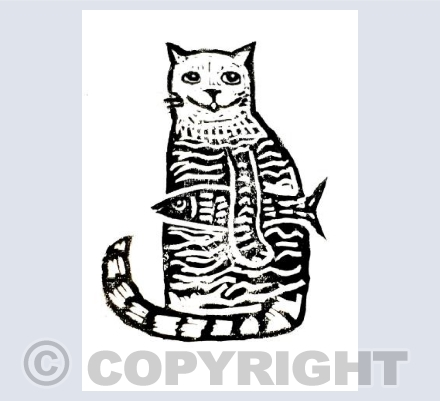 Stripey Cat with Fish