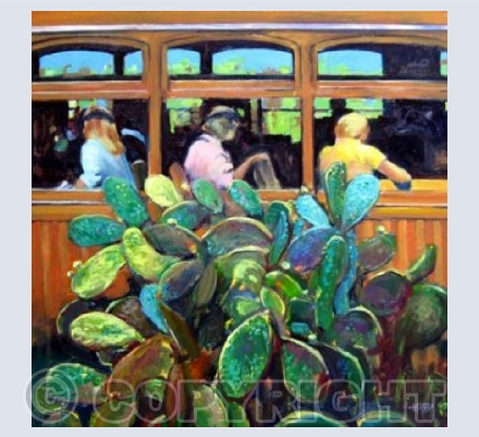 Tram with Prickly Pear