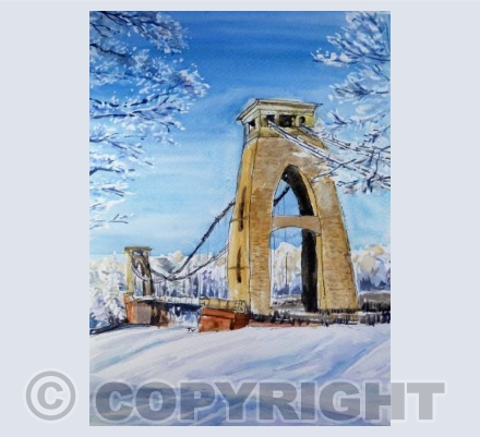 Suspension Bridge in snow
