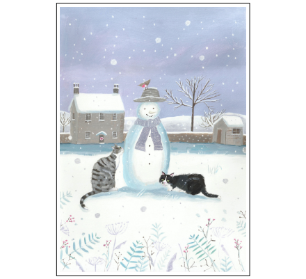 Cats with snowman by Mary Stubberfield